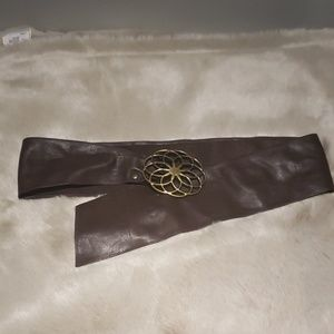 Accessories - Brown Leather Sash Belt with Brass Buckle